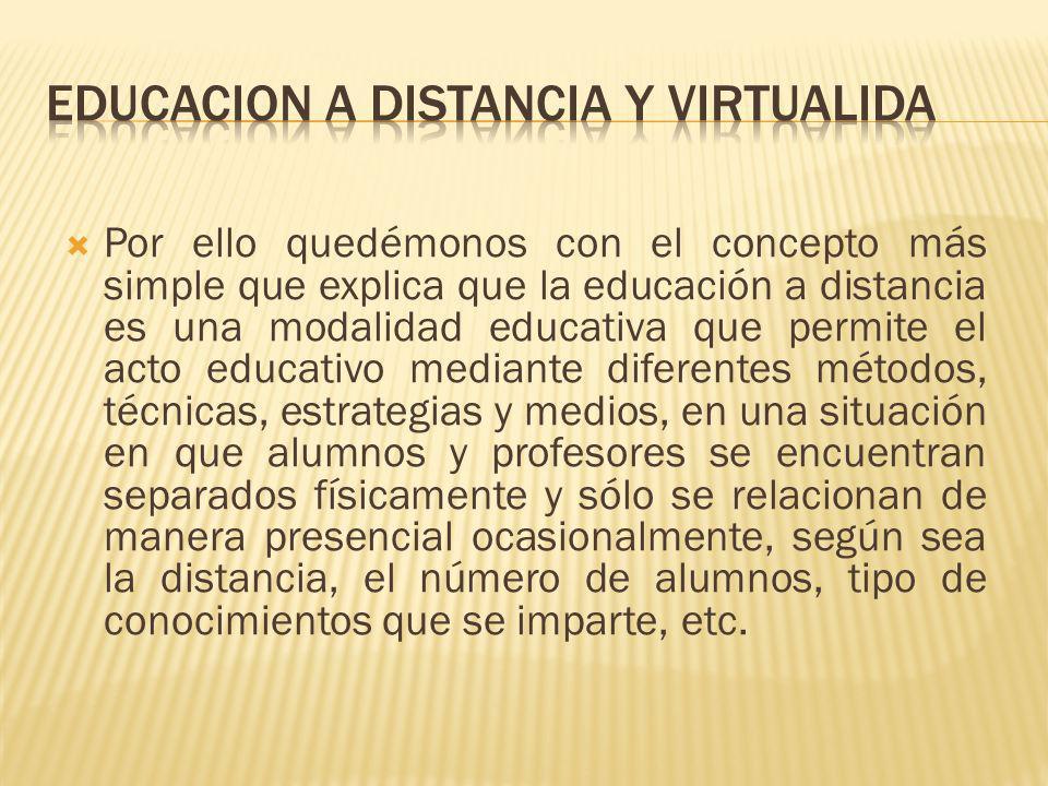 Por ello quedémonos con el concepto más simple que explica que la educación a distancia es una modalidad educativa que permite el acto educativo media
