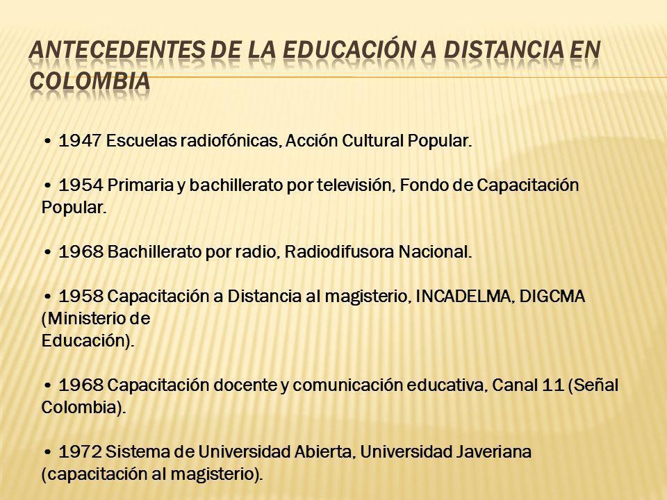 1947 Escuelas radiofónicas, Acción Cultural Popular. 1954 Primaria y bachillerato por televisión, Fondo de Capacitación Popular. 1968 Bachillerato por