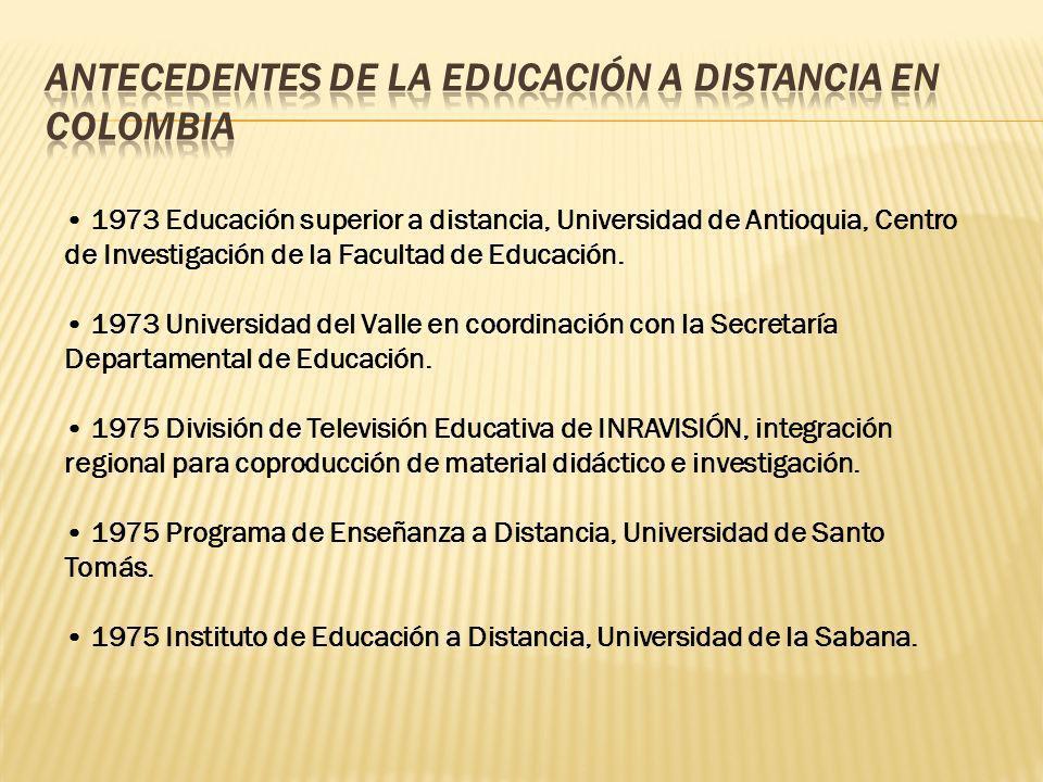 1973 Educación superior a distancia, Universidad de Antioquia, Centro de Investigación de la Facultad de Educación. 1973 Universidad del Valle en coor