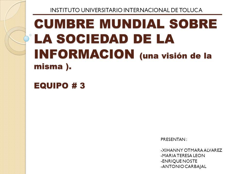 CUMBRE MUNDIAL SOBRE LA SOCIEDAD DE LA INFORMACION (una visión de la misma ).