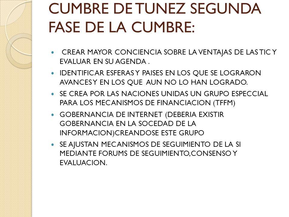 CUMBRE DE TUNEZ SEGUNDA FASE DE LA CUMBRE: CREAR MAYOR CONCIENCIA SOBRE LA VENTAJAS DE LAS TIC Y EVALUAR EN SU AGENDA.
