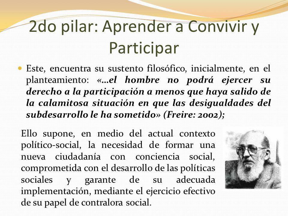 Este, encuentra su sustento filosófico, inicialmente, en el planteamiento: «…el hombre no podrá ejercer su derecho a la participación a menos que haya