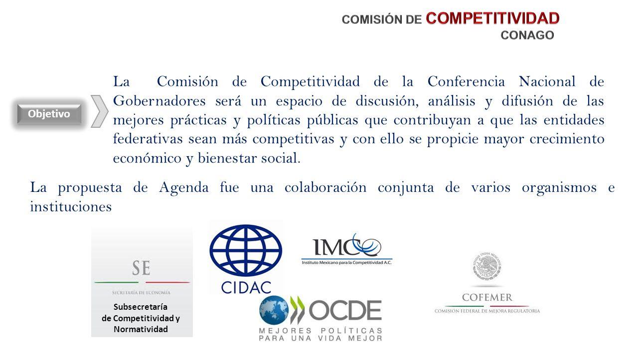 La Comisión de Competitividad de la Conferencia Nacional de Gobernadores será un espacio de discusión, análisis y difusión de las mejores prácticas y políticas públicas que contribuyan a que las entidades federativas sean más competitivas y con ello se propicie mayor crecimiento económico y bienestar social.