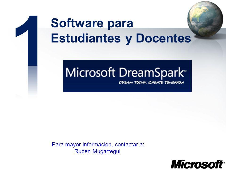 Software para Estudiantes y Docentes Para mayor información, contactar a: Ruben Mugartegui