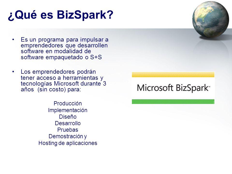 ¿Qué es BizSpark? Es un programa para impulsar a emprendedores que desarrollen software en modalidad de software empaquetado o S+S Los emprendedores p