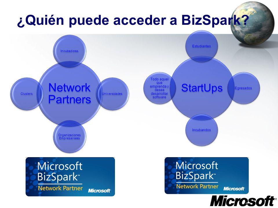 ¿Quién puede acceder a BizSpark? StartUps EstudiantesEgresadosIncubandos Todo aquel que emprenda y desee desarrollar software Network Partners Incubad