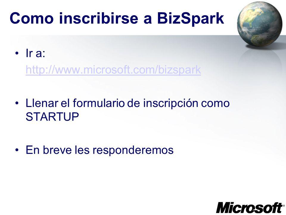 Como inscribirse a BizSpark Ir a: http://www.microsoft.com/bizspark Llenar el formulario de inscripción como STARTUP En breve les responderemos