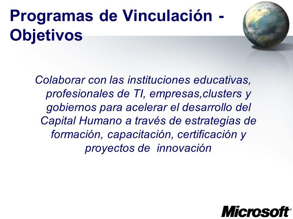 Programas de Vinculación - Objetivos Colaborar con las instituciones educativas, profesionales de TI, empresas,clusters y gobiernos para acelerar el d