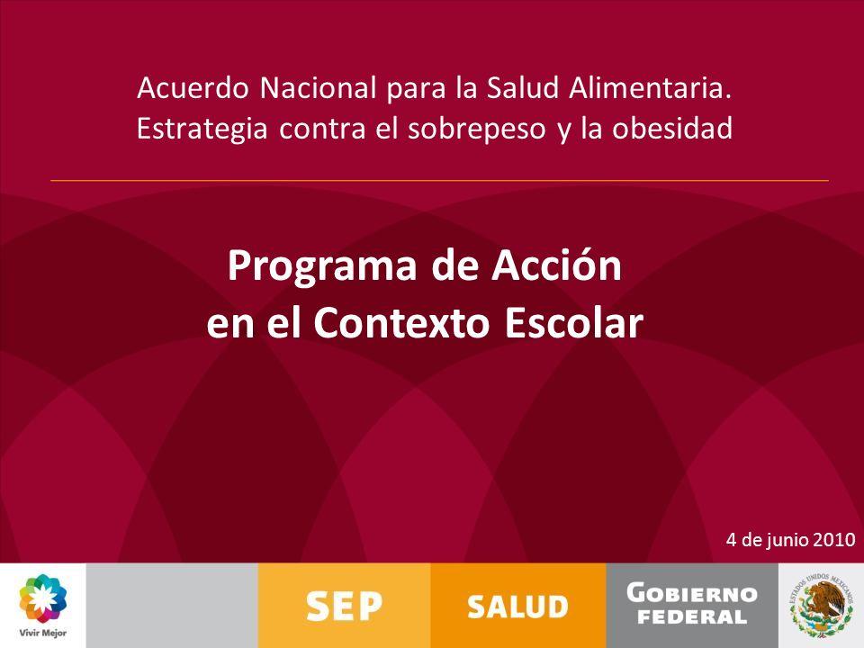 Acuerdo Nacional para la Salud Alimentaria. Estrategia contra el sobrepeso y la obesidad 4 de junio 2010 Programa de Acción en el Contexto Escolar