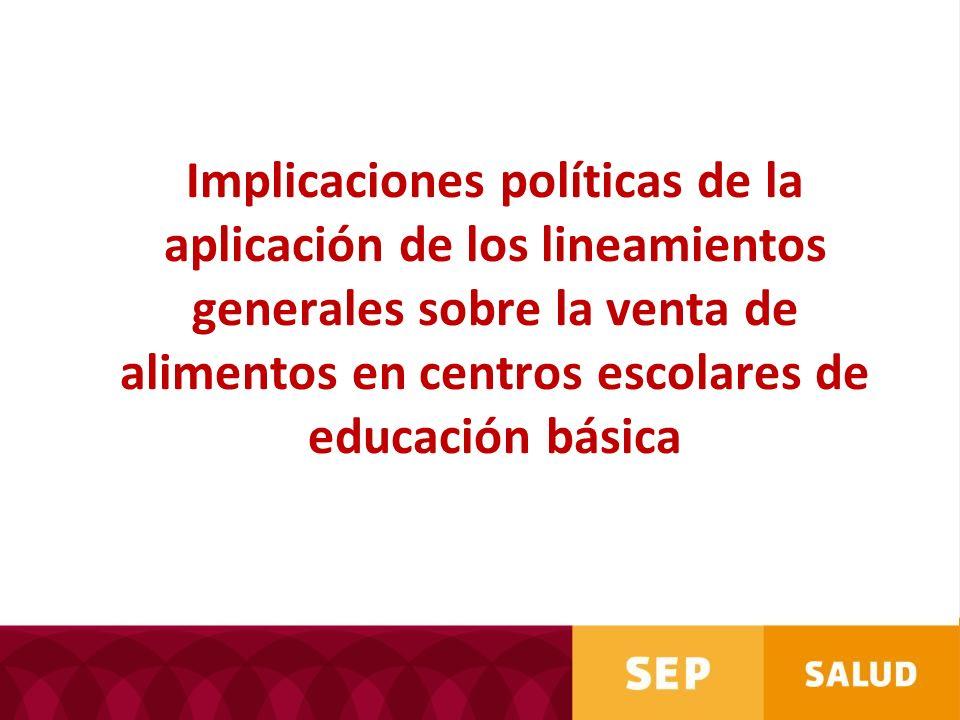 Implicaciones políticas de la aplicación de los lineamientos generales sobre la venta de alimentos en centros escolares de educación básica