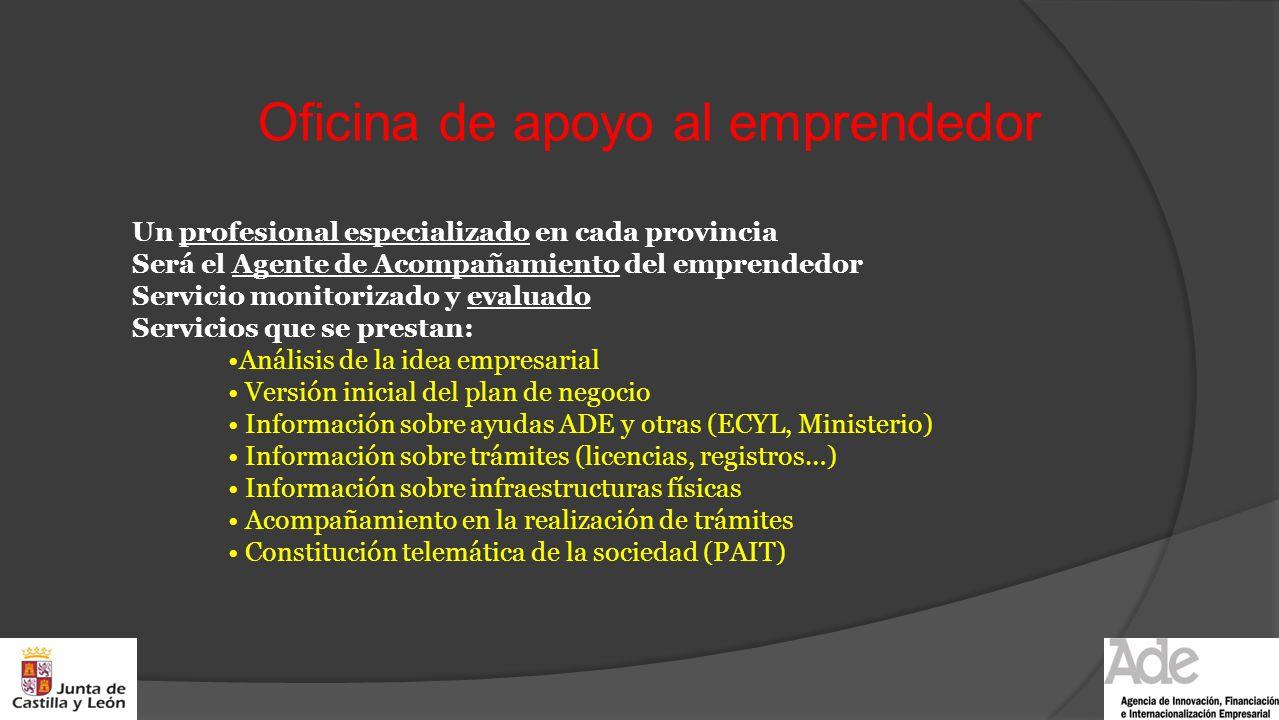 Oficina de apoyo al emprendedor Un profesional especializado en cada provincia Será el Agente de Acompañamiento del emprendedor Servicio monitorizado