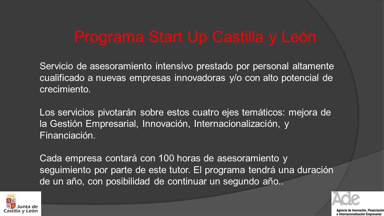 Programa Start Up Castilla y León Servicio de asesoramiento intensivo prestado por personal altamente cualificado a nuevas empresas innovadoras y/o co