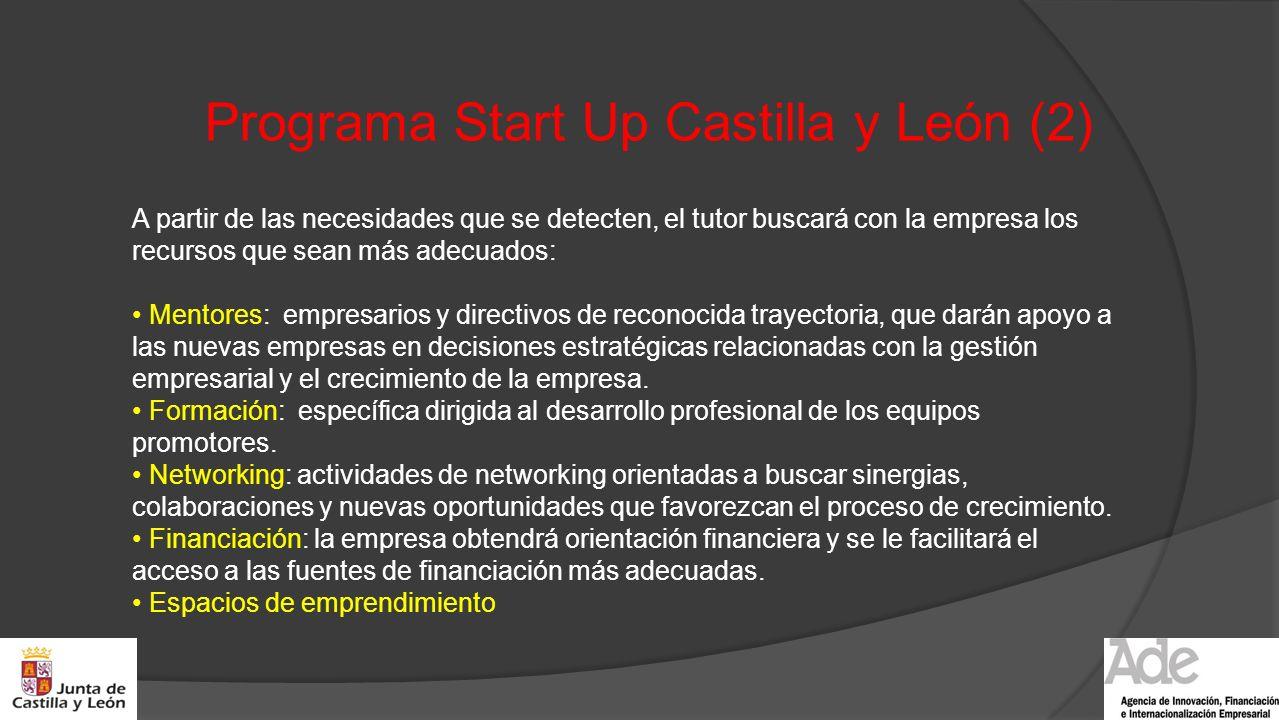 Programa Start Up Castilla y León (2) A partir de las necesidades que se detecten, el tutor buscará con la empresa los recursos que sean más adecuados
