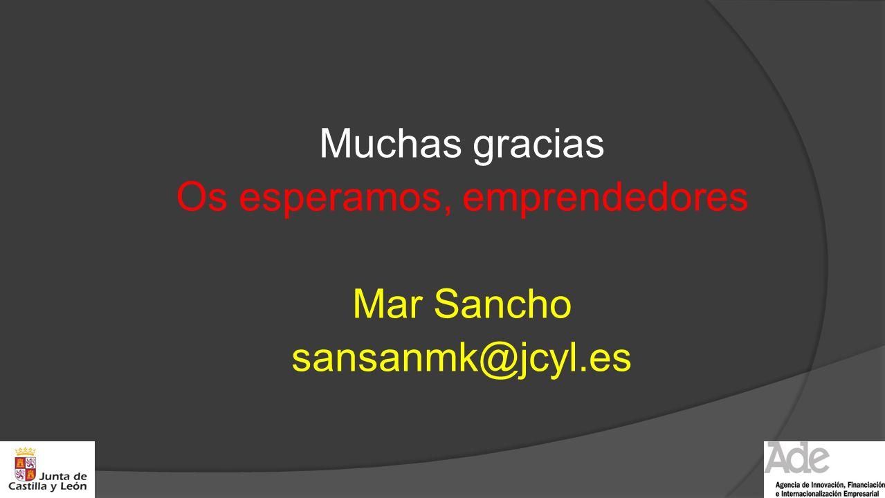 Muchas gracias Os esperamos, emprendedores Mar Sancho sansanmk@jcyl.es