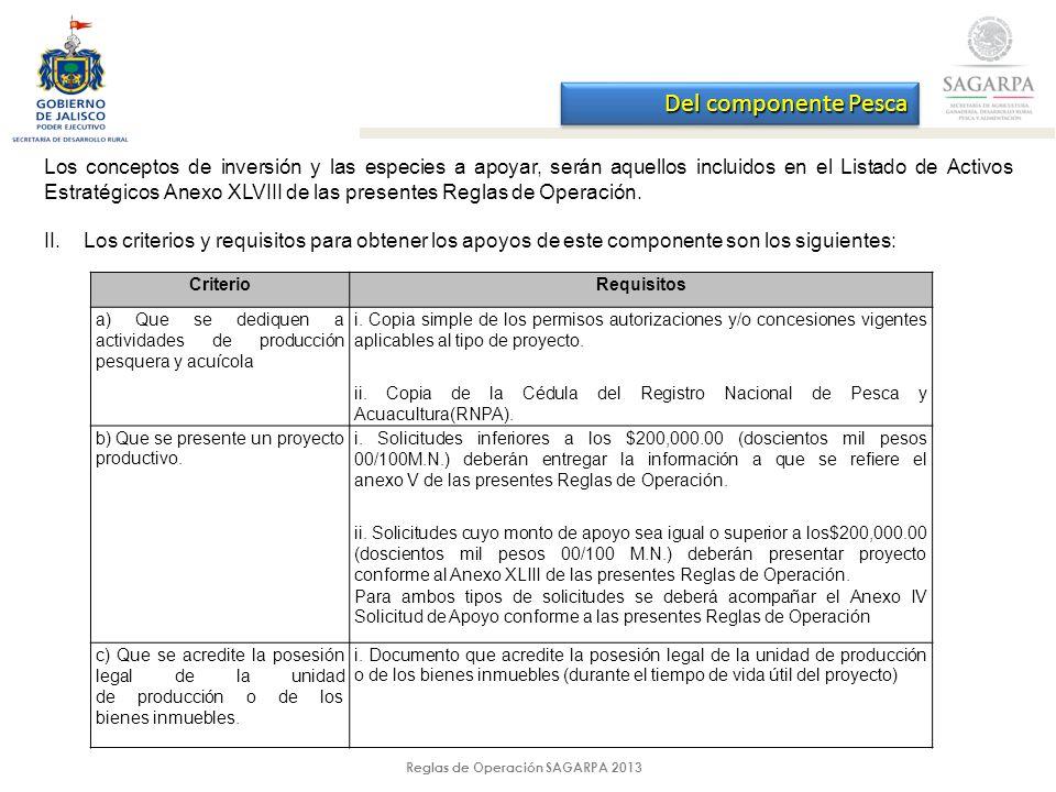 Reglas de Operación SAGARPA 2013 Los conceptos de inversión y las especies a apoyar, serán aquellos incluidos en el Listado de Activos Estratégicos Anexo XLVIII de las presentes Reglas de Operación.