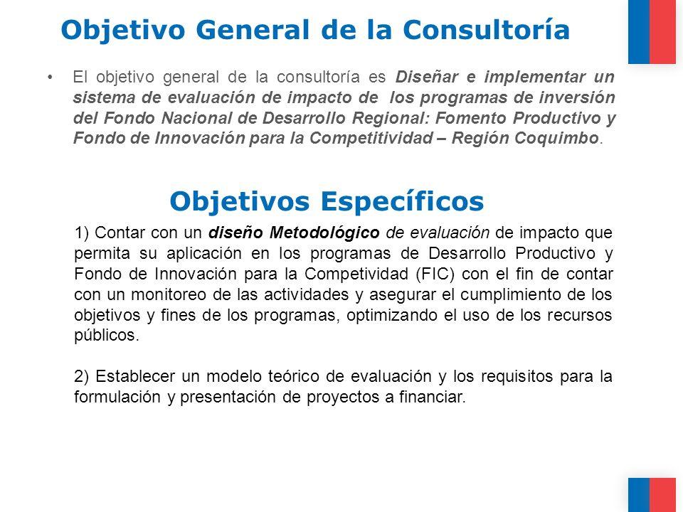 Objetivo General de la Consultoría El objetivo general de la consultoría es Diseñar e implementar un sistema de evaluación de impacto de los programas