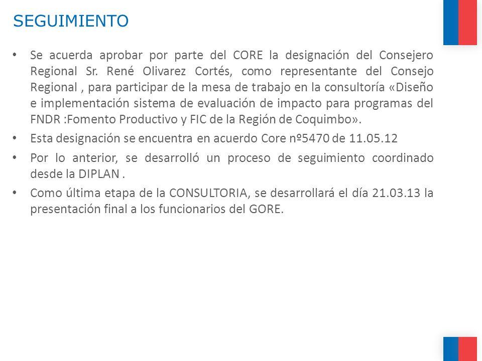 SEGUIMIENTO Se acuerda aprobar por parte del CORE la designación del Consejero Regional Sr. René Olivarez Cortés, como representante del Consejo Regio