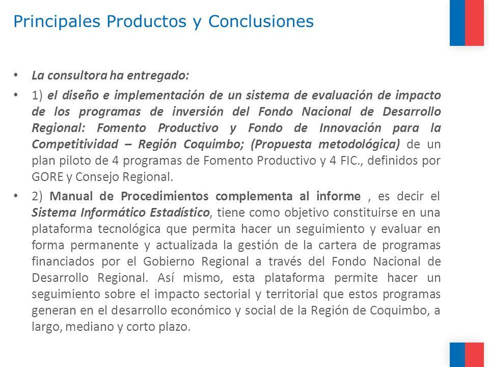 Principales Productos y Conclusiones La consultora ha entregado: 1) el diseño e implementación de un sistema de evaluación de impacto de los programas