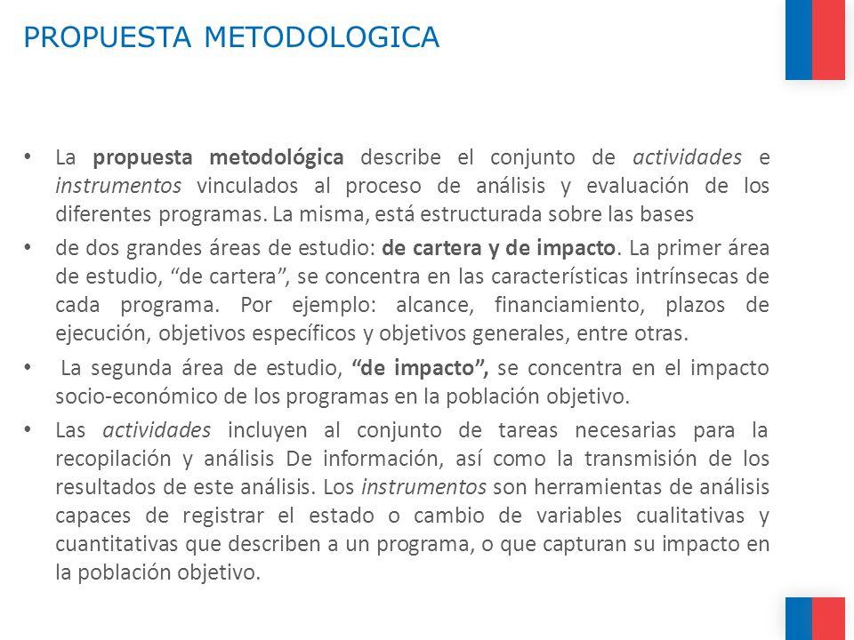 PROPUESTA METODOLOGICA La propuesta metodológica describe el conjunto de actividades e instrumentos vinculados al proceso de análisis y evaluación de