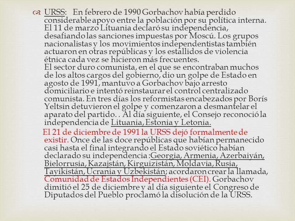 URSS: En febrero de 1990 Gorbachov había perdido considerable apoyo entre la población por su política interna. El 11 de marzo Lituania declaró su ind