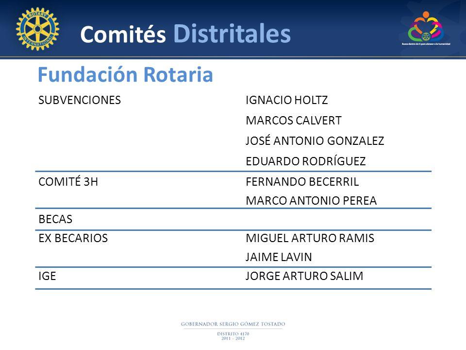 Fundación Rotaria Comités Distritales SUBVENCIONESIGNACIO HOLTZ MARCOS CALVERT JOSÉ ANTONIO GONZALEZ EDUARDO RODRÍGUEZ COMITÉ 3HFERNANDO BECERRIL MARC