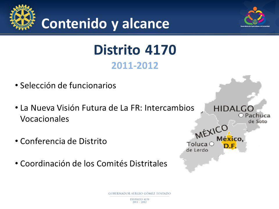 Contenido y alcance Distrito 4170 2011-2012 Selección de funcionarios La Nueva Visión Futura de La FR: Intercambios Vocacionales Conferencia de Distri