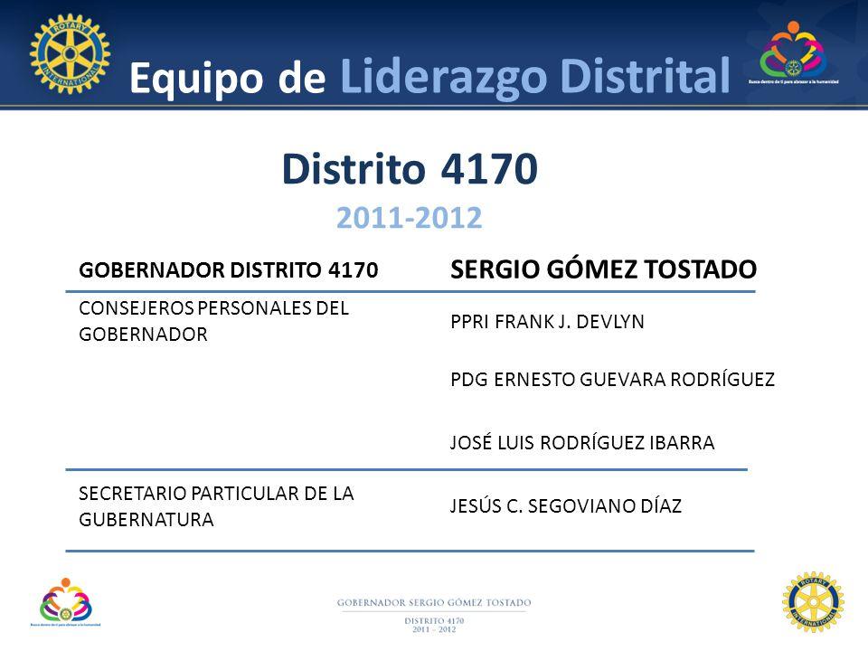 GOBERNADOR DISTRITO 4170 SERGIO GÓMEZ TOSTADO CONSEJEROS PERSONALES DEL GOBERNADOR PPRI FRANK J. DEVLYN PDG ERNESTO GUEVARA RODRÍGUEZ JOSÉ LUIS RODRÍG