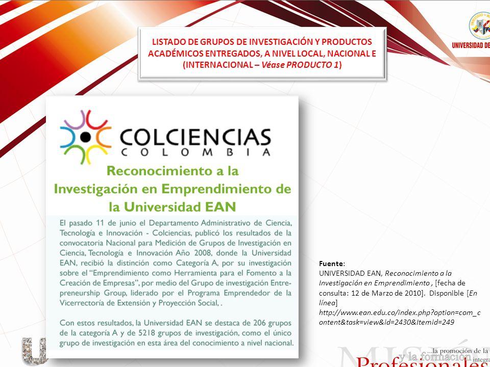 LISTADO DE GRUPOS DE INVESTIGACIÓN Y PRODUCTOS ACADÉMICOS ENTREGADOS, A NIVEL LOCAL, NACIONAL E (INTERNACIONAL – Véase PRODUCTO 1) Fuente: UNIVERSIDAD