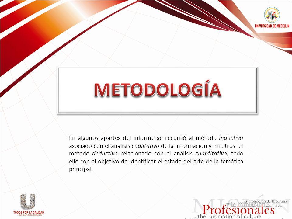 En algunos apartes del informe se recurrió al método inductivo asociado con el análisis cualitativo de la información y en otros el método deductivo r