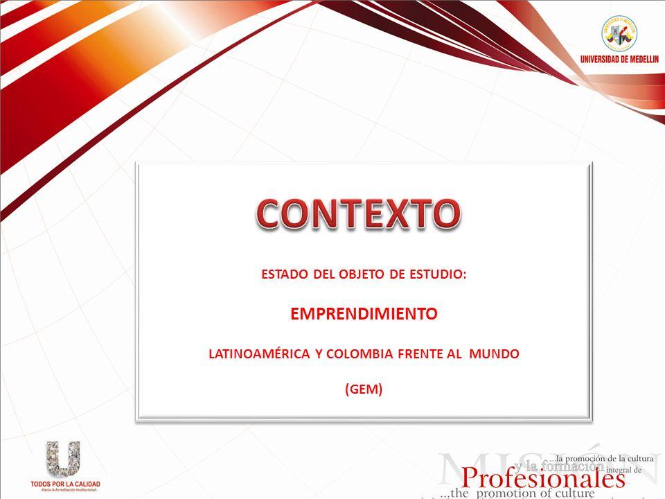 ESTADO DEL OBJETO DE ESTUDIO: EMPRENDIMIENTO LATINOAMÉRICA Y COLOMBIA FRENTE AL MUNDO (GEM) ESTADO DEL OBJETO DE ESTUDIO: EMPRENDIMIENTO LATINOAMÉRICA