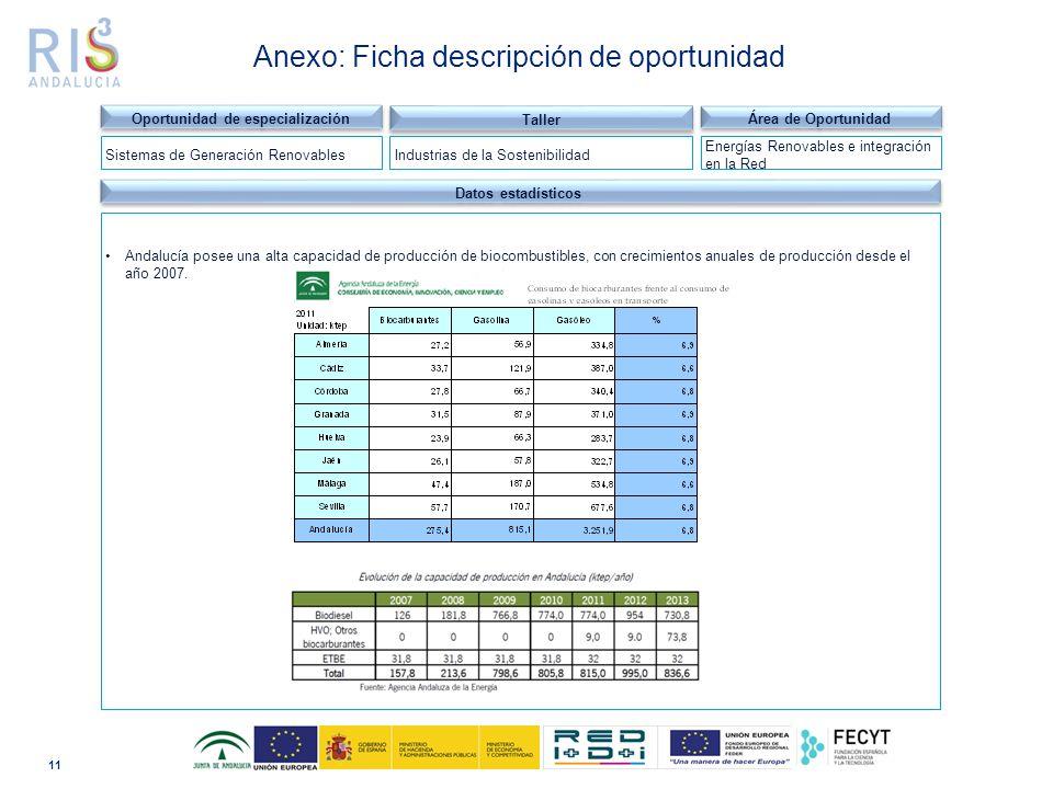 11 Dominio tecnológico Datos estadísticos Andalucía posee una alta capacidad de producción de biocombustibles, con crecimientos anuales de producción desde el año 2007.