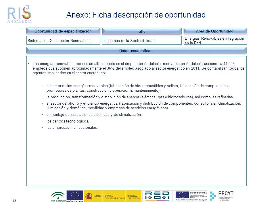 12 Dominio tecnológico Datos estadísticos Las energías renovables poseen un alto impacto en el empleo en Andalucía, renovable en Andalucía asciende a 44.259 empleos que suponen aproximadamente el 36% del empleo asociado al sector energético en 2011.