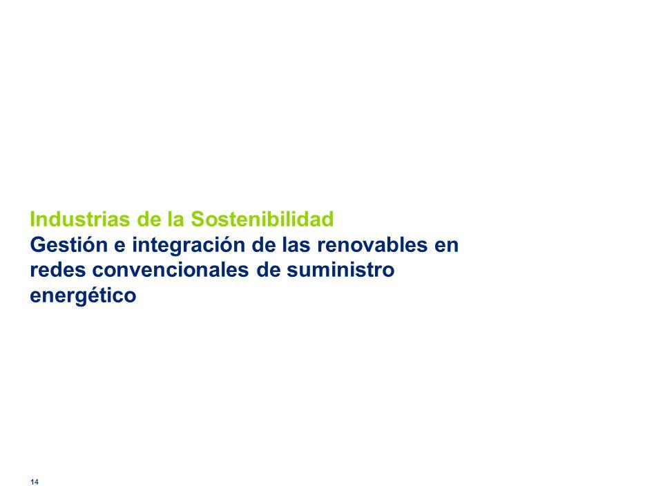 Industrias de la Sostenibilidad Gestión e integración de las renovables en redes convencionales de suministro energético 14