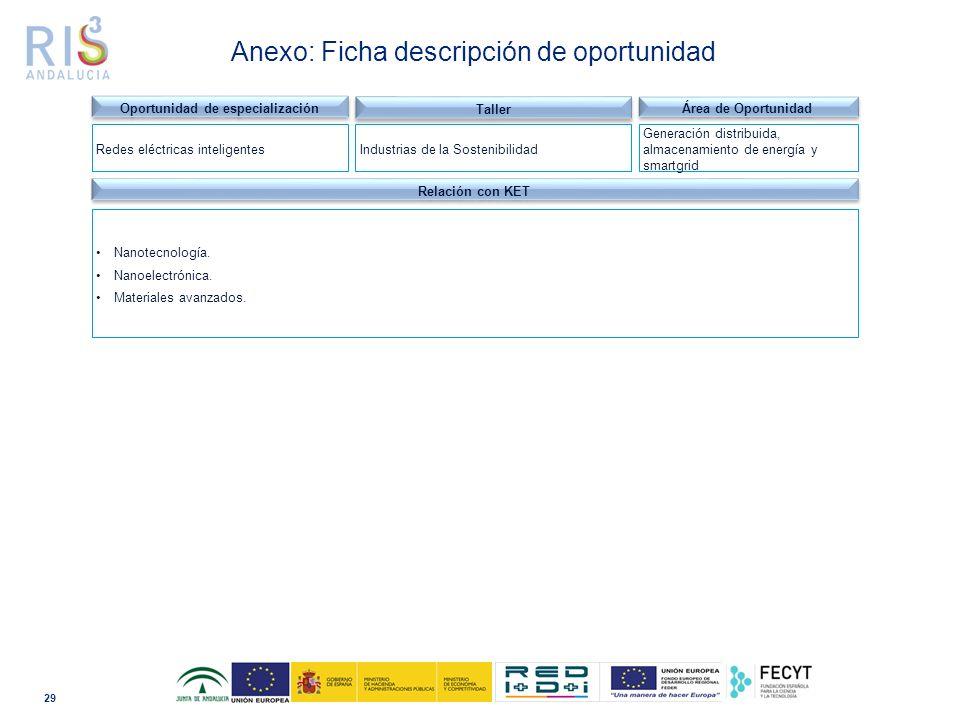 29 Dominio tecnológico Anexo: Ficha descripción de oportunidad Relación con KET Nanotecnología.