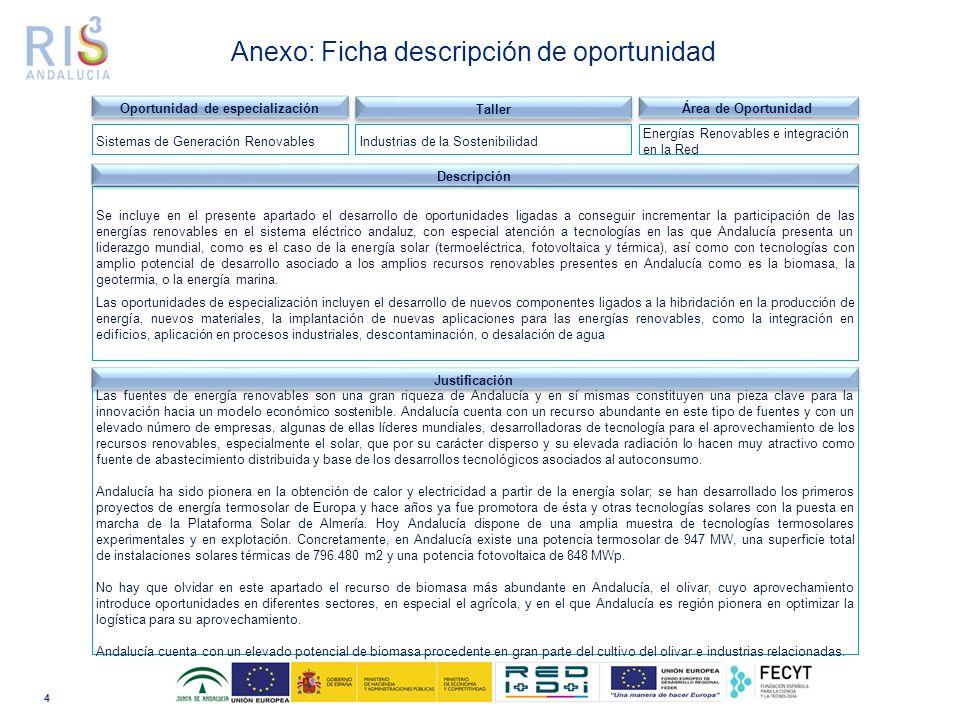 Las fuentes de energía renovables son una gran riqueza de Andalucía y en sí mismas constituyen una pieza clave para la innovación hacia un modelo económico sostenible.