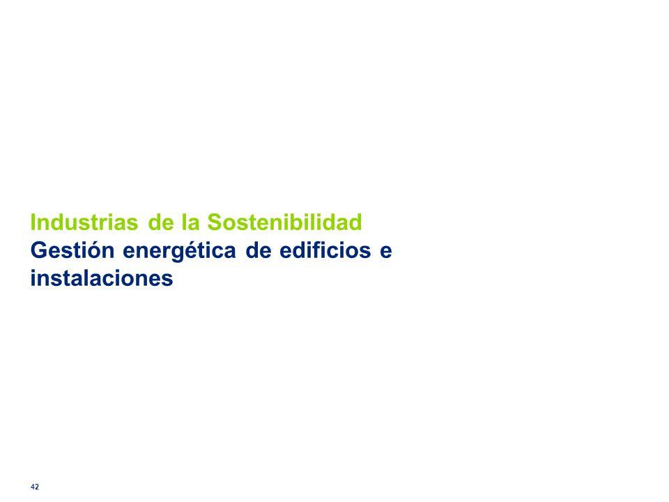Industrias de la Sostenibilidad Gestión energética de edificios e instalaciones 42