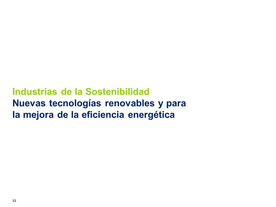 Industrias de la Sostenibilidad Nuevas tecnologías renovables y para la mejora de la eficiencia energética 52