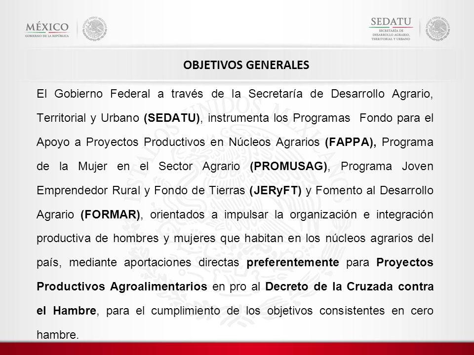 El Gobierno Federal a través de la Secretaría de Desarrollo Agrario, Territorial y Urbano (SEDATU), instrumenta los Programas Fondo para el Apoyo a Proyectos Productivos en Núcleos Agrarios (FAPPA), Programa de la Mujer en el Sector Agrario (PROMUSAG), Programa Joven Emprendedor Rural y Fondo de Tierras (JERyFT) y Fomento al Desarrollo Agrario (FORMAR), orientados a impulsar la organización e integración productiva de hombres y mujeres que habitan en los núcleos agrarios del país, mediante aportaciones directas preferentemente para Proyectos Productivos Agroalimentarios en pro al Decreto de la Cruzada contra el Hambre, para el cumplimiento de los objetivos consistentes en cero hambre.