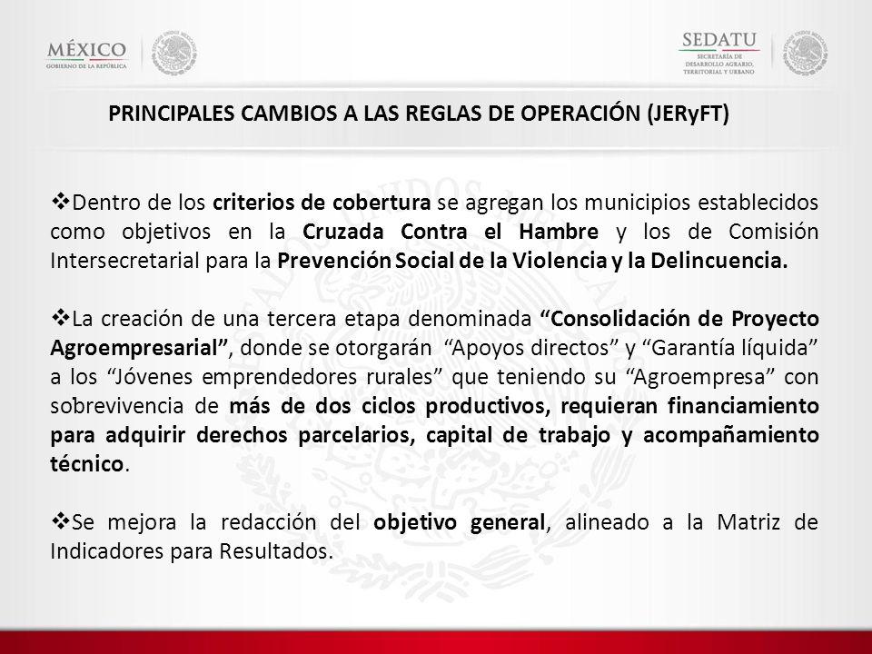 . PRINCIPALES CAMBIOS A LAS REGLAS DE OPERACIÓN (JERyFT) Dentro de los criterios de cobertura se agregan los municipios establecidos como objetivos en