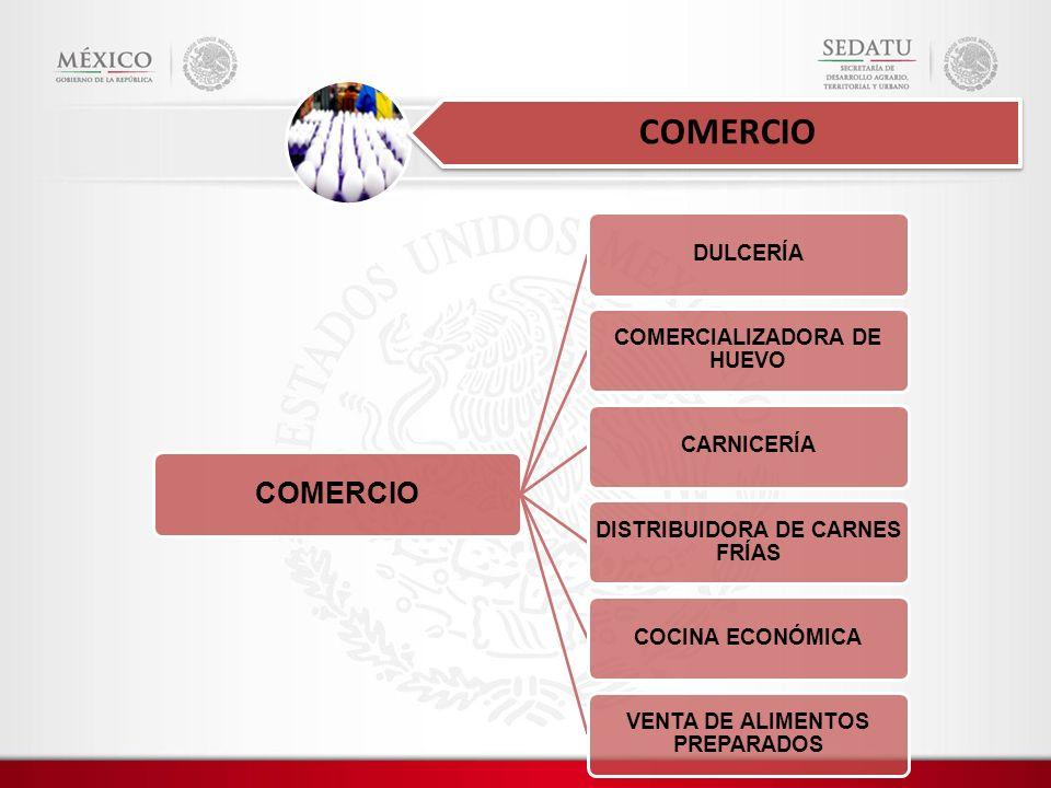 COMERCIO DULCERÍA COMERCIALIZADORA DE HUEVO CARNICERÍA DISTRIBUIDORA DE CARNES FRÍAS COCINA ECONÓMICA VENTA DE ALIMENTOS PREPARADOS COMERCIO