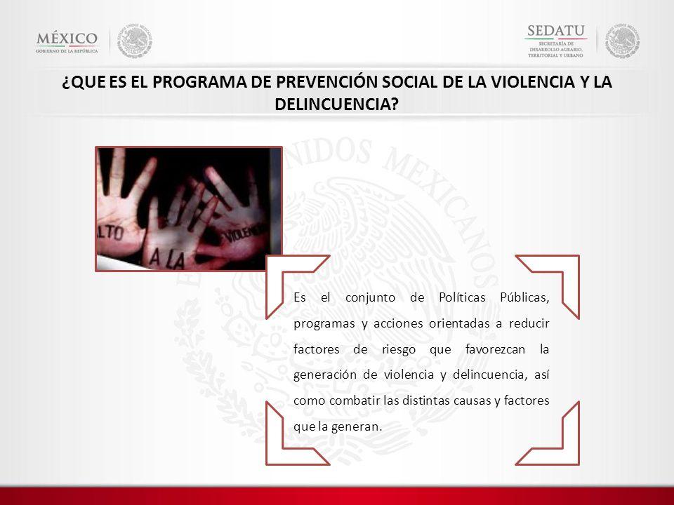 Es el conjunto de Políticas Públicas, programas y acciones orientadas a reducir factores de riesgo que favorezcan la generación de violencia y delincuencia, así como combatir las distintas causas y factores que la generan.