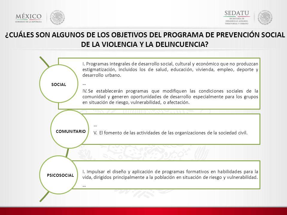 ¿CUÁLES SON ALGUNOS DE LOS OBJETIVOS DEL PROGRAMA DE PREVENCIÓN SOCIAL DE LA VIOLENCIA Y LA DELINCUENCIA? I. Programas integrales de desarrollo social