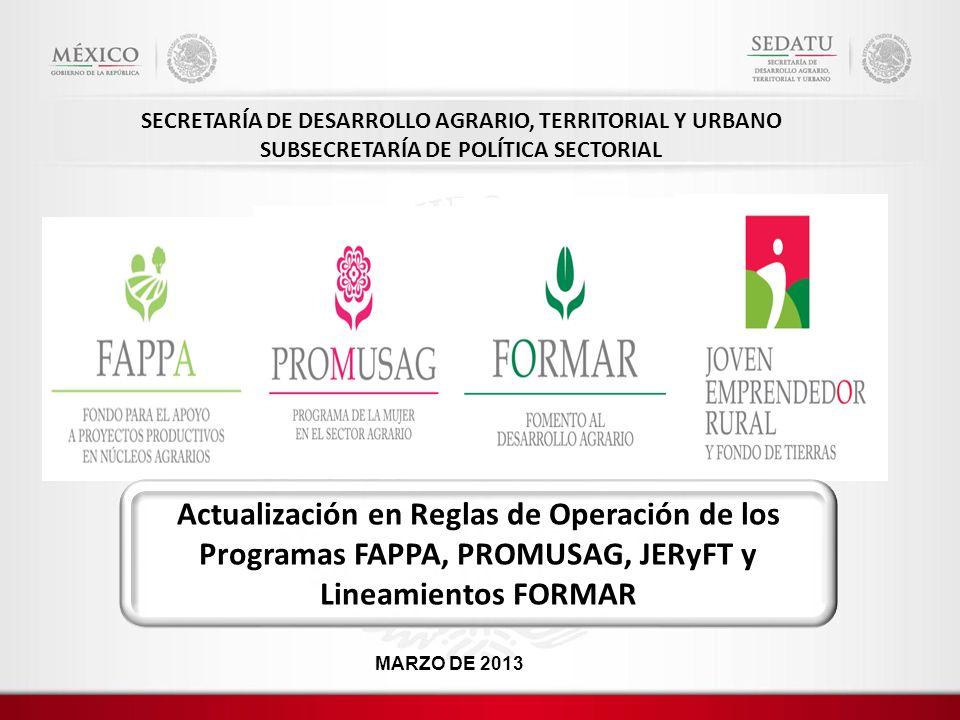SECRETARÍA DE DESARROLLO AGRARIO, TERRITORIAL Y URBANO SUBSECRETARÍA DE POLÍTICA SECTORIAL Actualización en Reglas de Operación de los Programas FAPPA