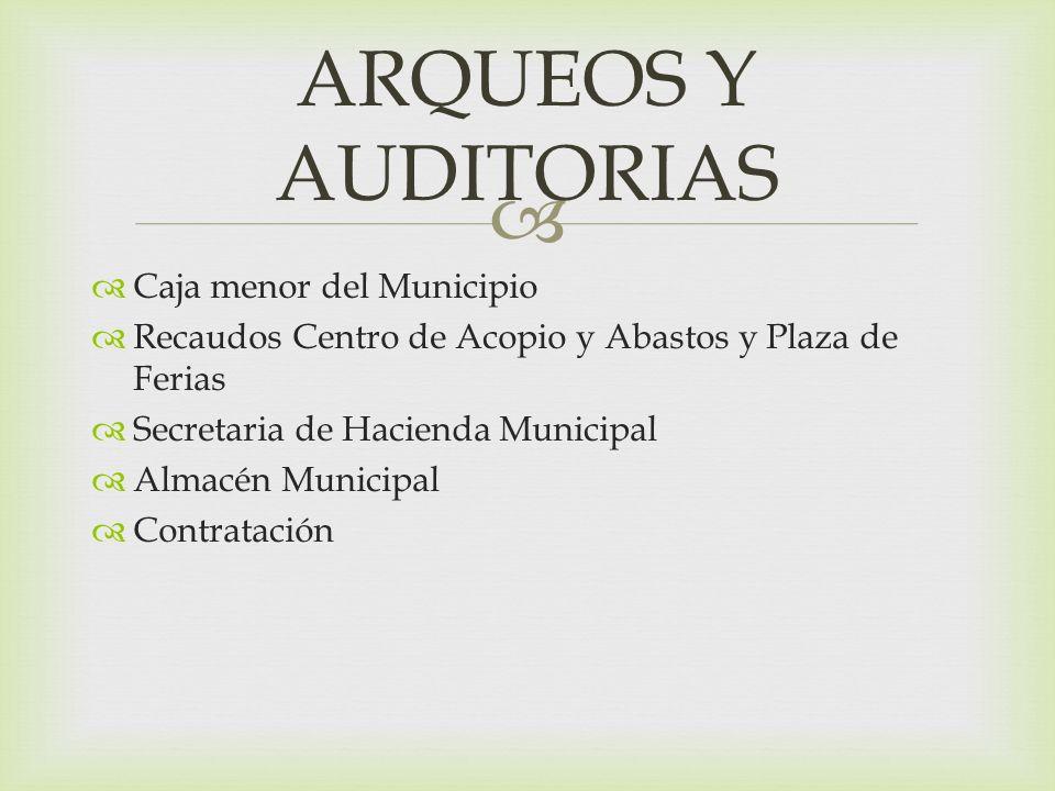 Caja menor del Municipio Recaudos Centro de Acopio y Abastos y Plaza de Ferias Secretaria de Hacienda Municipal Almacén Municipal Contratación ARQUEOS Y AUDITORIAS