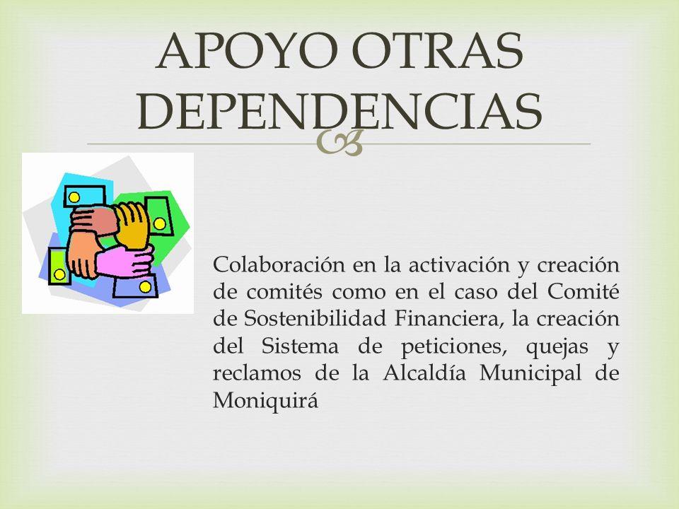 Colaboración en la activación y creación de comités como en el caso del Comité de Sostenibilidad Financiera, la creación del Sistema de peticiones, quejas y reclamos de la Alcaldía Municipal de Moniquirá APOYO OTRAS DEPENDENCIAS