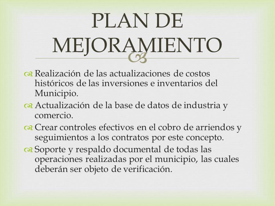 Realización de las actualizaciones de costos históricos de las inversiones e inventarios del Municipio. Actualización de la base de datos de industria
