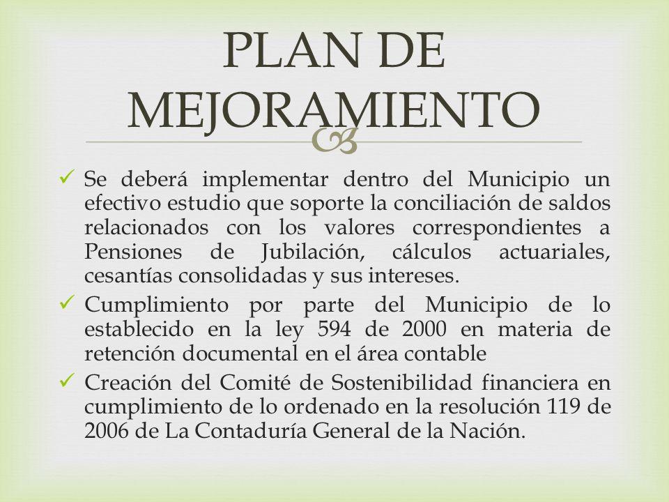 Se deberá implementar dentro del Municipio un efectivo estudio que soporte la conciliación de saldos relacionados con los valores correspondientes a Pensiones de Jubilación, cálculos actuariales, cesantías consolidadas y sus intereses.