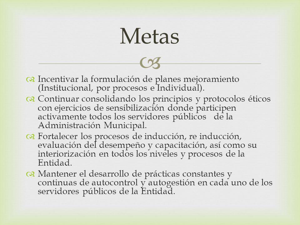 Incentivar la formulación de planes mejoramiento (Institucional, por procesos e Individual). Continuar consolidando los principios y protocolos éticos