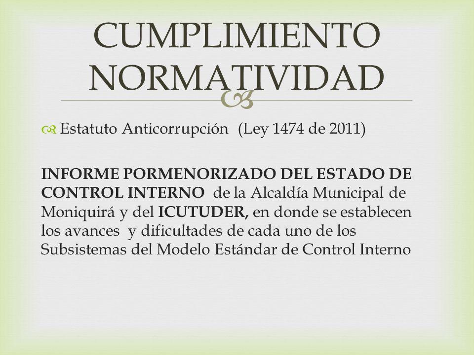 Estatuto Anticorrupción (Ley 1474 de 2011) INFORME PORMENORIZADO DEL ESTADO DE CONTROL INTERNO de la Alcaldía Municipal de Moniquirá y del ICUTUDER, en donde se establecen los avances y dificultades de cada uno de los Subsistemas del Modelo Estándar de Control Interno CUMPLIMIENTO NORMATIVIDAD