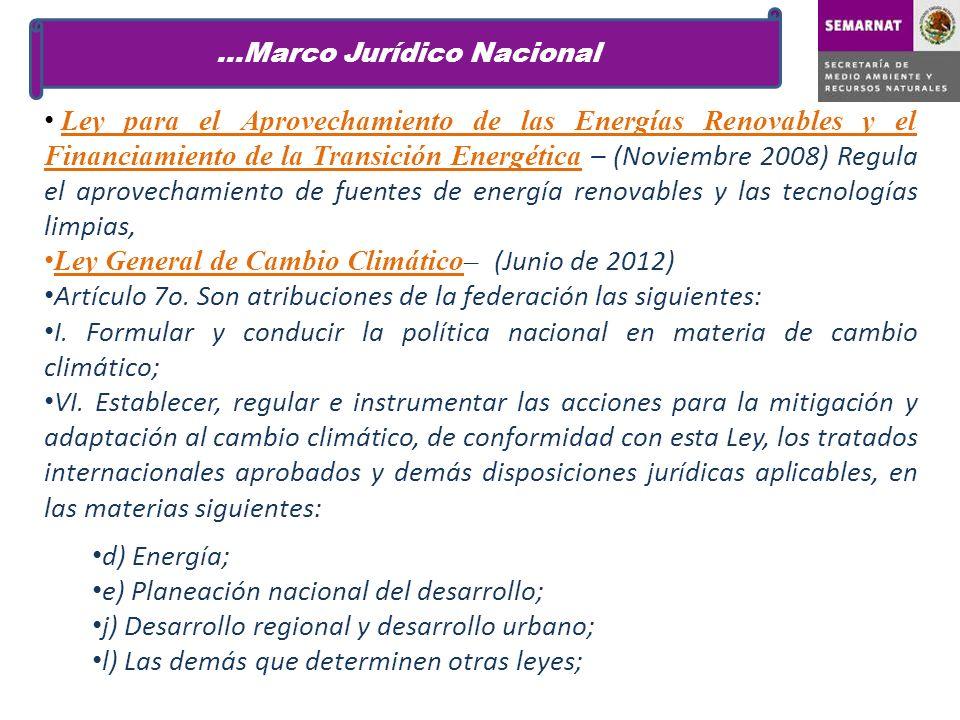 Ley para el Aprovechamiento de las Energías Renovables y el Financiamiento de la Transición Energética – (Noviembre 2008) Regula el aprovechamiento de fuentes de energía renovables y las tecnologías limpias, Ley General de Cambio Climático– (Junio de 2012) Artículo 7o.